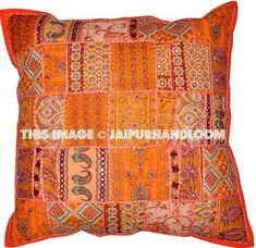 Large Orange Indian Patchwork Pillow For Sofa Boho garden cushions : ora. : Large Orange Indian Patchwork Pillow For Sofa Boho garden cushions : orange pillows cushions Turquoise Throw Pillows, Orange Pillows, Orange Sofa, Sofa Throw Pillows, Cushions On Sofa, Boho Cushions, Bean Bag Bed, Tapestry Bedding, Wall Tapestries