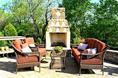 YES back patio with fireplace and seating area PLEASE
