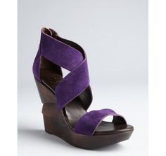 Diane Von Furstenberg purple suede 'Opal' wedge sandals, they are actually comfortable !