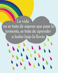"""La no se trata de esperar a que pase la si no de aprender a bailar bajo la lluvia."" ""Life is not expected to pass the storm, if not learn to dance in the rain. Motivacional Quotes, Rain Quotes, Cute Quotes, Mr Wonderful, Learn To Dance, Dancing In The Rain, More Than Words, Spanish Quotes, Wise Words"