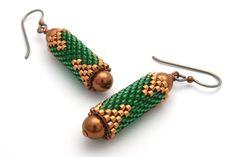 Green earrings beaded earrings bead woven di PembrokeBeadwork