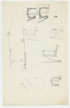 Chair with Arms. Unidentified sketches. Ludwig Mies van der Rohe (American, born Germany. 1886–1969)  c.1934. Pencil on paper, 12 15/16 x 8 1/4 (32.9 x 21 cm). Mies van der Rohe Archive, gift of the architect. © 2013 The Museum of Modern Art, New York