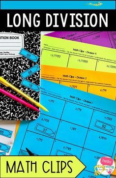 Long Division Activity Are you looking for engaging activities to use when teaching long division to your upper elementary students?  This set of long division Math Clips practice activities will help your students master long division in a fun way. Perfect to use as a whole class activity, in math centers or as homework for 4th grade and 5th grade students.  Problems only use whole numbers and include answers with remainders and without remainders.  Fun for students, easy for teachers… Long Division Practice, Long Division Activities, Teaching Long Division, Math Division, Class Activities, Teaching Math, Elementary Math, Upper Elementary, Remainders