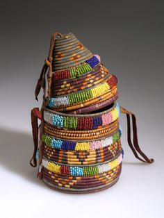 Africa   Basket with lid from North Africa; possibly Egypt   Plant fiber, glass beads, hide and pigment   ca. 1924