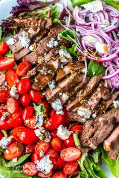 Salad & Balsamic Dressing This steak salad recipe is a quick, delicious meal that's ready in minutes. The balsamic dressing is packed with flavor and the perfect pairing. Steak Salad & Balsamic Dressing - This steak salad recipe is a quick, delicious . Salad Recipes For Dinner, Dinner Salads, Healthy Salad Recipes, Salad Recipes To Go With Steak, Steak Salad Recipe Blue Cheese, Salad With Steak, Flank Steak Salad, Vegetarian Salad, Beef Salad