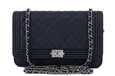 Nwt 16a Chanel Black Caviar Boy Classic Quilted Woc Wallet On Chain Flap Bag