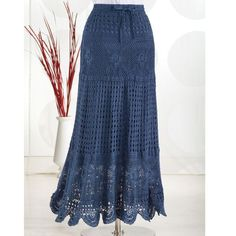 """Örgü Etek Modelleri 69 """"BL XL - Women's Clothing, Jewelry, Fashion Accessories and Gifts for Women with a Flair of the Outdoors"""", """"Hand-Crocheted Skirt Crochet Skirts, Knit Skirt, Crochet Clothes, Knit Dress, Crochet Woman, Hand Crochet, Womens Maxi Skirts, Clothing Patterns, Women's Clothing"""