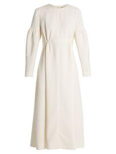 Emilia Wickstead Cecil smocked-waist wool-crepe dress
