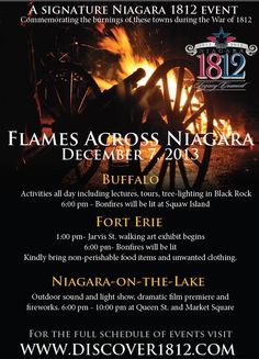 Don't miss the burning of the Niagara events for the #Warof1812