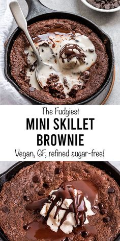 The best mini vegan & gluten-free skillet brownie that is perfect for two. This healthier dessert recipe is refined sugar-free & easy to make in one bowl! Skillet Brownie, Vegan Brownie, Healthy Dessert Recipes, Vegan Desserts, Guilt Free Desserts, Cake Recipes, Vegan Recipes, Cake Mix Brownies, Short Girl