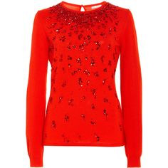 Oscar de la Renta Jewel Neck Starburst Stone Embroidered Pullover ($1,790) ❤ liked on Polyvore featuring tops, sweaters, red crew neck sweater, jewel neck sweater, red sweater, embroidered sweaters and keyhole sweaters