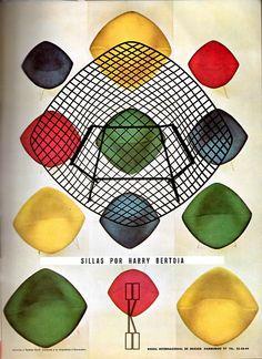 """Publicidad para Knoll Internacional de México 1962 - """"Sillas por Harry Bertoia"""" - Advertisement for Knoll International of Mexico 1962"""