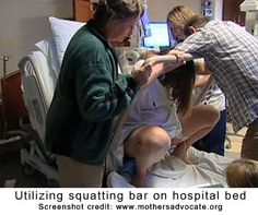 Using squat bar on hospital birthing bed