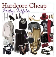 """""""Hardcore cheap party outfits"""" by outcast-tips ❤ liked on Polyvore featuring Miss Selfridge, Chase & Chloe, Accessorize, Topshop, MANGO, River Island, Charlotte Russe, Carvela, ALDO and H&M"""