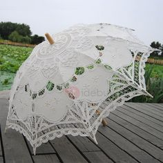 Tide Fancy Ivory Wedding Lace Parasol Adorewe