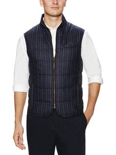 Pinstripe Quilted Wool Vest by Luciano Barbera at Gilt