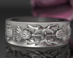 Gold Thistle Ring 10K 14K or 18K Gold Scottish by CelticEternity
