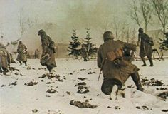 German infantry advancing near the Moskva river, winter 1941/42.