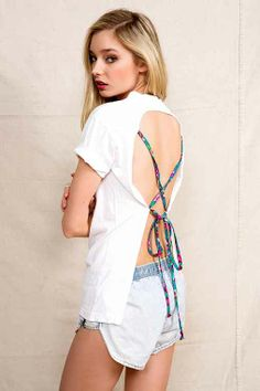Urban Renewal Lace-Up Back Vintage Tee - Urban Outfitters