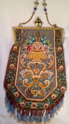 Antique Fine Beaded Purse Very Large Jeweled Frame