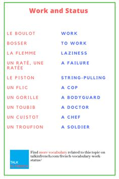 Polish up your French vocabulary related to work & job with these informative words, phrases, and slang terms. You can also download the list in PDF format for free! Check it out: https://www.talkinfrench.com/french-vocabulary-work-status/