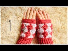 ハンドウォーマーの編み方・作り方(1)【かぎ編み/キャサリンの車輪編み】 crochet catherin wheel stitch - YouTube