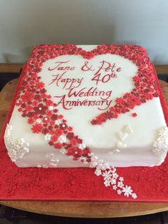 Hearts and flowers 40th wedding anniversary cake. Ruby wedding anniversary