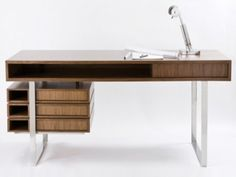 An instant classic, the Boxeo desk is versatile and fully customizable for any home-office needs. Gorgeous geometry, solid construction and engineering, perfect walnut finishing and crisp stainless steel are balanced and airy in this desk design. Home Office Desks, Home Office Furniture, Luxury Furniture, Furniture Design, Cottage Furniture, Office Set, Office Spaces, Furniture Ideas, Contemporary Office Desk