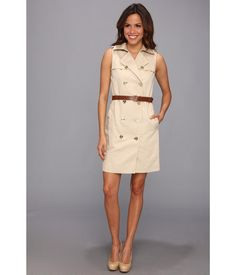 Salute your style in this refined MICHAEL Michael Kors® trench dress.. Fold-over collar.. Shoulder ...