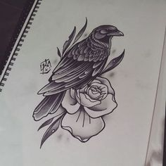Traditional black raven and flower tattoo design