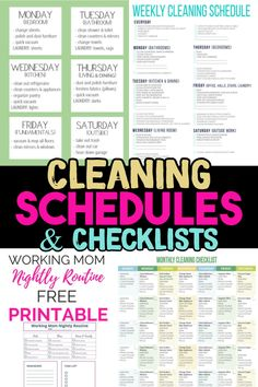 Cleaning Schedule and Checklist Ideas - cleaning hacks! Try our daily cleaning schedule, month. Weekly Cleaning Schedule Printable, Weekly House Cleaning, Monthly Cleaning Schedule, House Cleaning Checklist, Clean House Schedule, Laundry Schedule, Schedule Calendar, Kitchen Cleaning, Deep Cleaning Tips