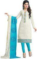 Khushali Presents Embroidered Lakda Jacquard Dress Material(White,Sky Blue)