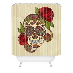 DIA DE LOS MUERTOS/DAY OF THE DEAD~Valentina Ramos Sugar Skull Shower Curtain