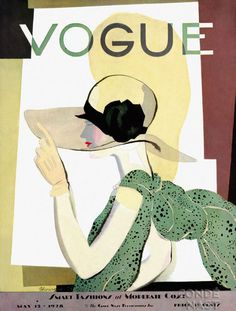 Vintage Vogue cover by Georges Lepape, May 1938 Vogue Magazine Covers, Fashion Magazine Cover, Fashion Cover, Magazine Art, Art Deco Illustration, Fashion Illustration Vintage, Vogue Vintage, Vintage Vogue Covers, Art Deco Posters