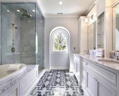 Inspirational Stacked Stone Tile Bathroom Design Ideas With White Cabinet And Bathtub And Marble Countertops Also Glass Shower Room And Marble Wall Accent And Pretty Floral Floor Bathroom Interior Marble Stone wall for Bathroom Bathroom Windows, Bathroom Interior, Modern Bathroom, Bathroom Ideas, Bathroom Designs, Bathroom Organization, Bathroom Mirrors, Bathroom Storage, Bath Ideas