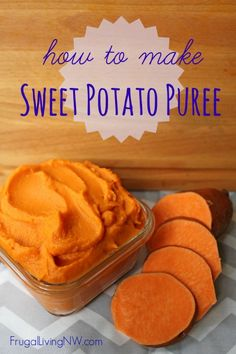 How to make homemade sweet potato puree -- All it takes is three sweet potatoes! Sweet Potato Puree Baby, Sweet Potato Biscuits, Sweet Potato Recipes, Potato Pie, Pureed Food Recipes, Baby Food Recipes, Frugal Living Nw, My Favorite Food, Favorite Recipes