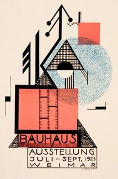 Cartaz Bauhaus de 1923, onde predominam as características do movimento como simplificação dos volumes, geometrização das formas e o predomínio de linhas retas.   Ano: 1923 Autor: Rudolf Baschant