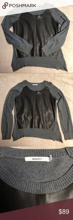 BAILEY44 Sweater with faux Leather front BAILEY44 Sweater with faux leather front. Worn once, in beautiful condition! Last pic is just to show fit. Currently retailing at Bloomingdales for $153 Ask questions before purchasing💕                                                    ‼️Fast Shipping  Open to Offers  Willing to Bundle 💕 Pet friendly home  Not a smoke free home Bailey 44 Sweaters Crew & Scoop Necks