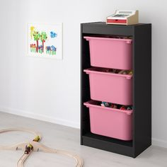TROFAST Storage combination with boxes, black, pink, 46x30x95 cm - IKEA Plastic Box Storage, Toy Storage, Shoe Storage Bench Ikea, Put On Your Shoes, Drawer Rails, Shared Rooms, Wooden Frames, Cleaning Wipes, Drawers