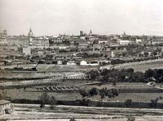 Panorámica de la pradera de San Isidro (1875), en primer plano la vega del Manzanares. A la izquierda, el Palacio Real  - Portal Fuenterrebollo