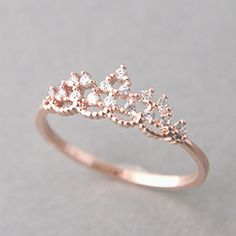 Gold Jewelry CZ Princess Tiara Ring Rose Gold - Kellinsilver - We are jewelry online store for all things simple, sparkly and exciting. Our favorite things include cross ring and sterling silver jewelry. Cute Rings, Pretty Rings, Beautiful Rings, Simple Rings, Simple Rose, Zierlicher Ring, Ring Set, Solitaire Ring, Cute Jewelry