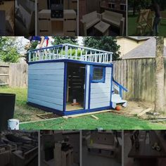 other ideas? projects & 📥 How to Build your own with woodworking plans! *not every pic or post is in the wood plans package Backyard Playhouse, Build A Playhouse, Wooden Playhouse Kits, Playhouse With Slide, Outside Playhouse, Backyard Fort, Playhouse Ideas, Kids Backyard Playground, Backyard For Kids