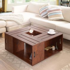 Furniture of America The Crate Square Vintage Walnut Coffee Table with Open Shelf Storage - Overstock™ Shopping - Great Deals on Furniture of America Coffee, Sofa & End Tables Wine Crate Coffee Table, Walnut Coffee Table, Cool Coffee Tables, Coffee Table With Storage, Crate Table, Walnut Table, Table Storage, Crate Storage, Cofee Tables