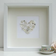 Sweet Dimple - Bespoke, personalised, framed gifts perfect for celebrating any occasion. Pearl Wedding Anniversary Gifts, Anniversary Cards, Button Art, Button Crafts, Heart Artwork, Heart Frame, Shadow Box Frames, Frame Crafts, Fabric Ribbon