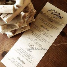Rustic Style Menu  #rustic #weddingmenu  www.istiliarochepaper.ca Handmade Invitations, Blueberry Cheesecake, Fresh Basil, Wedding Menu, Vinaigrette, Paper Design, Rustic Style, Showers, Tart