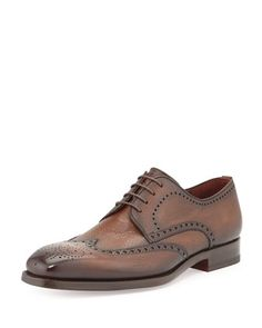 Pebbled Leather Wing-Tip, Brown  by Magnanni for Neiman Marcus at Neiman Marcus.
