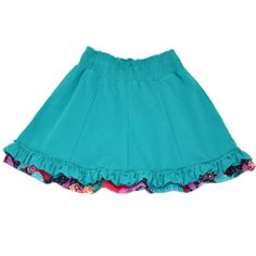Colorful Skirt for Girls  Boutique Skirt  in teal by FroskGirls, $25.00