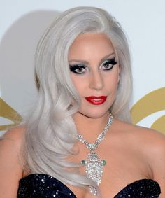 Lady GaGa Long Straight Hairstyle at the 57th Annual Grammy Awards.