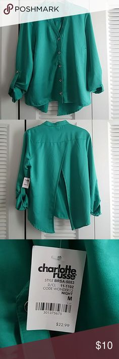 Fly open back top A beautiful teal top with open back. Cute with some shorts or jeggings. Feel the summer breeze in this cutie. Charlotte Russe Tops Blouses