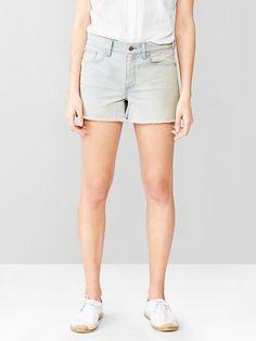 1969 slim railroad stripe denim shorts